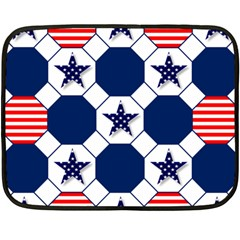 Patriotic Symbolic Red White Blue Double Sided Fleece Blanket (Mini)