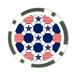 Patriotic Symbolic Red White Blue Poker Chip Card Guard (10 pack)