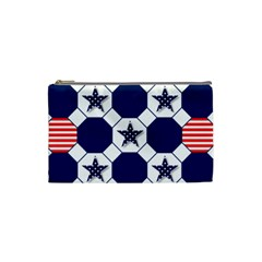 Patriotic Symbolic Red White Blue Cosmetic Bag (Small)
