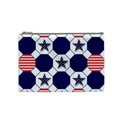 Patriotic Symbolic Red White Blue Cosmetic Bag (Medium)