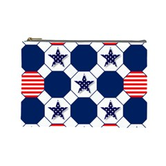Patriotic Symbolic Red White Blue Cosmetic Bag (Large)