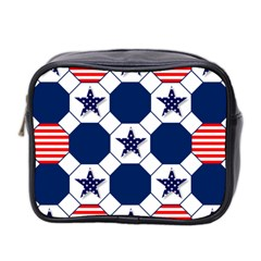 Patriotic Symbolic Red White Blue Mini Toiletries Bag 2-Side