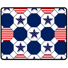 Patriotic Symbolic Red White Blue Fleece Blanket (Medium)