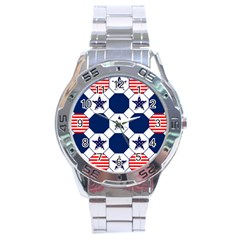 Patriotic Symbolic Red White Blue Stainless Steel Analogue Watch