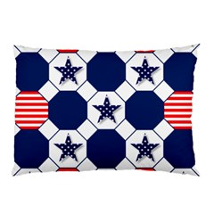 Patriotic Symbolic Red White Blue Pillow Case (Two Sides)