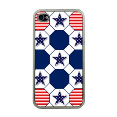 Patriotic Symbolic Red White Blue Apple iPhone 4 Case (Clear)