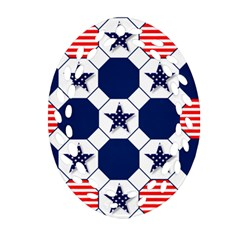 Patriotic Symbolic Red White Blue Oval Filigree Ornament (Two Sides)