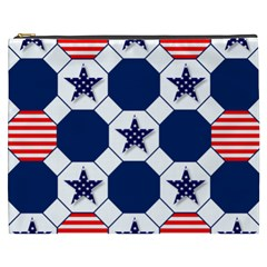 Patriotic Symbolic Red White Blue Cosmetic Bag (XXXL)