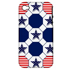 Patriotic Symbolic Red White Blue Apple iPhone 4/4S Hardshell Case (PC+Silicone)