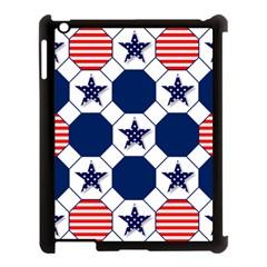 Patriotic Symbolic Red White Blue Apple iPad 3/4 Case (Black)