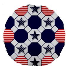 Patriotic Symbolic Red White Blue Large 18  Premium Round Cushions