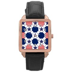 Patriotic Symbolic Red White Blue Rose Gold Leather Watch