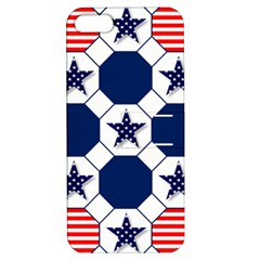 Patriotic Symbolic Red White Blue Apple Iphone 5 Hardshell Case With Stand