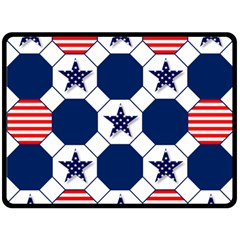 Patriotic Symbolic Red White Blue Double Sided Fleece Blanket (Large)