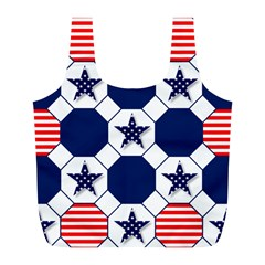 Patriotic Symbolic Red White Blue Full Print Recycle Bags (L)