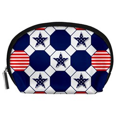 Patriotic Symbolic Red White Blue Accessory Pouches (Large)