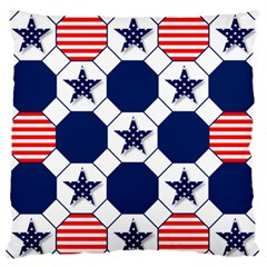 Patriotic Symbolic Red White Blue Large Flano Cushion Case (One Side)