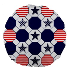 Patriotic Symbolic Red White Blue Large 18  Premium Flano Round Cushions