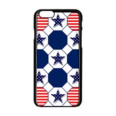 Patriotic Symbolic Red White Blue Apple iPhone 6/6S Black Enamel Case