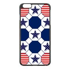 Patriotic Symbolic Red White Blue Apple iPhone 6 Plus/6S Plus Black Enamel Case