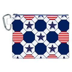 Patriotic Symbolic Red White Blue Canvas Cosmetic Bag (XXL)