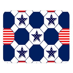 Patriotic Symbolic Red White Blue Double Sided Flano Blanket (Large)