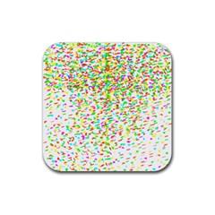 Confetti Celebration Party Colorful Rubber Coaster (Square)