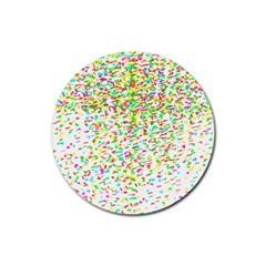 Confetti Celebration Party Colorful Rubber Coaster (Round)