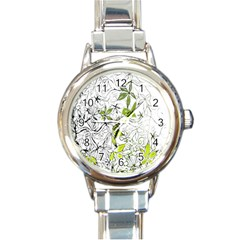Floral Pattern Background Round Italian Charm Watch