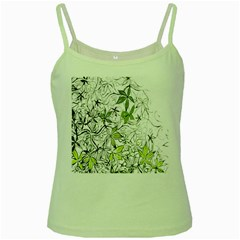 Floral Pattern Background Green Spaghetti Tank