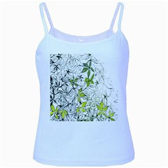 Floral Pattern Background Baby Blue Spaghetti Tank