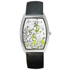 Floral Pattern Background Barrel Style Metal Watch