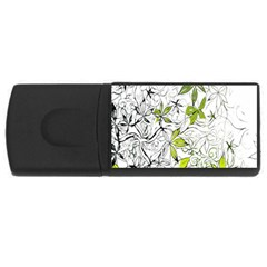 Floral Pattern Background USB Flash Drive Rectangular (4 GB)