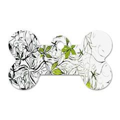 Floral Pattern Background Dog Tag Bone (two Sides)