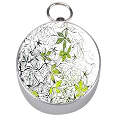 Floral Pattern Background Silver Compasses