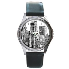 York Cathedral Vector Clipart Round Metal Watch
