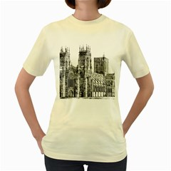York Cathedral Vector Clipart Women s Yellow T-Shirt