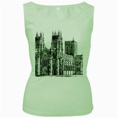York Cathedral Vector Clipart Women s Green Tank Top