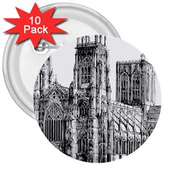 York Cathedral Vector Clipart 3  Buttons (10 pack)