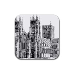 York Cathedral Vector Clipart Rubber Coaster (Square)
