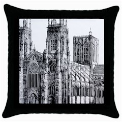 York Cathedral Vector Clipart Throw Pillow Case (Black)