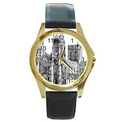 York Cathedral Vector Clipart Round Gold Metal Watch