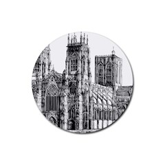 York Cathedral Vector Clipart Rubber Coaster (Round)