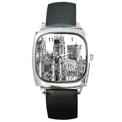 York Cathedral Vector Clipart Square Metal Watch