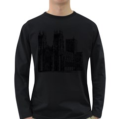 York Cathedral Vector Clipart Long Sleeve Dark T-Shirts