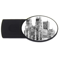 York Cathedral Vector Clipart USB Flash Drive Oval (4 GB)