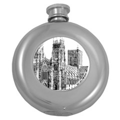York Cathedral Vector Clipart Round Hip Flask (5 oz)