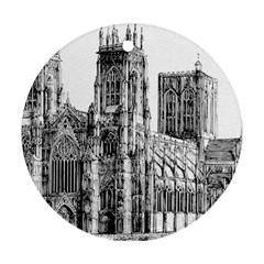 York Cathedral Vector Clipart Round Ornament (Two Sides)