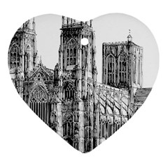 York Cathedral Vector Clipart Heart Ornament (Two Sides)