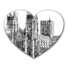 York Cathedral Vector Clipart Heart Mousepads